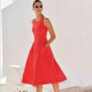Boden Elena Red Poplin Midi Dress